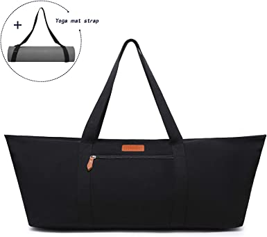 Amazon Com Elenture Large Yoga Mat Bag Exercise Mat Carrier Tote Bag With Pockets And Yoga Mat Strap Black Sports Outdoors