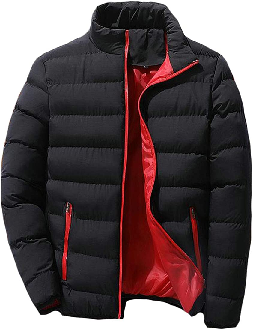 Agana Mens Stand Collar Winter Quilted Thicken Puffer Down Coat Parka Jacket