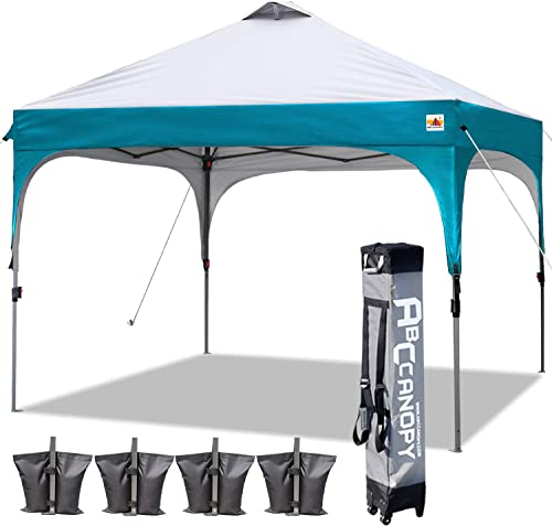 ABCCANOPY Canopy Tent 10×10 Pop Up Canopy Outdoor Canopies Portable Tent Popup Beach Canopy Shade Canopy Tent with Wheeled Backpack Bag Bonus 4Weight Bags, 4Ropes and 4Stakes, Gray and Turquoise