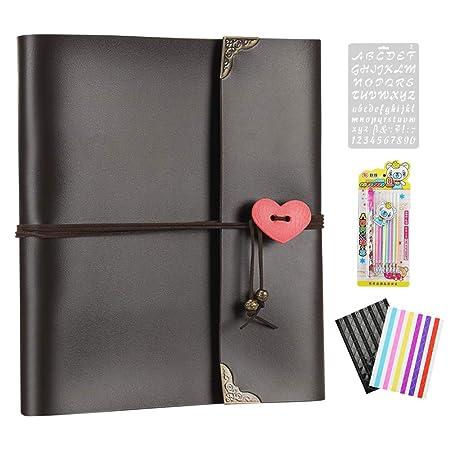 XIUJUAN Album de Fotos para Pegar Álbum Scrapbooking DIY Libros de Firmas Cuero Vintage, Regalos Originales Navidad Cumpleaños Aniversario Boda San ...