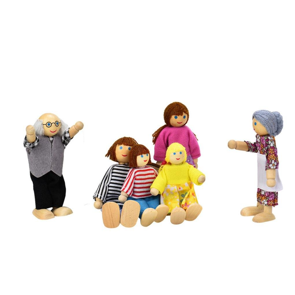 6 PCS Family Member Dolls Playset Role Play Toy for Kids, HARRYSTORE Cartoon Wooden House Family People Kids Children Pretend Play Gift Toy
