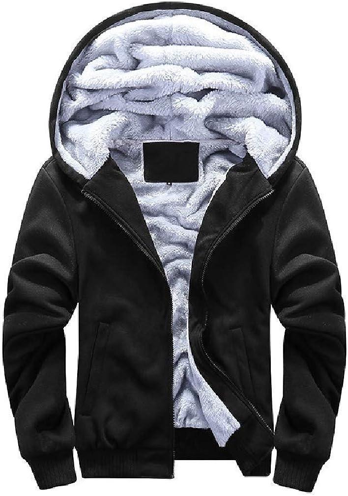 Men Hood Full-Zip Overcoat Jackets Thicken Plus Velvet Workout Sweatshirts