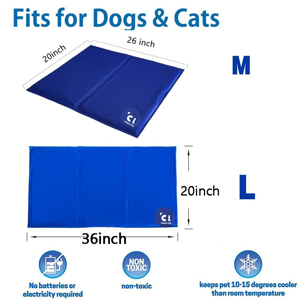 Cooper life Self Cooling Gel Pet Mat,Summer Sleep Cooling Mat/Pad with Easy to Clean,Non-Toxic——Prevent Overheating and Dehydration for Dogs,Cats&Pets. Perfect for Bed,Chair,Floor, Couch& Kennel (L) by Cooper life (Image #2)