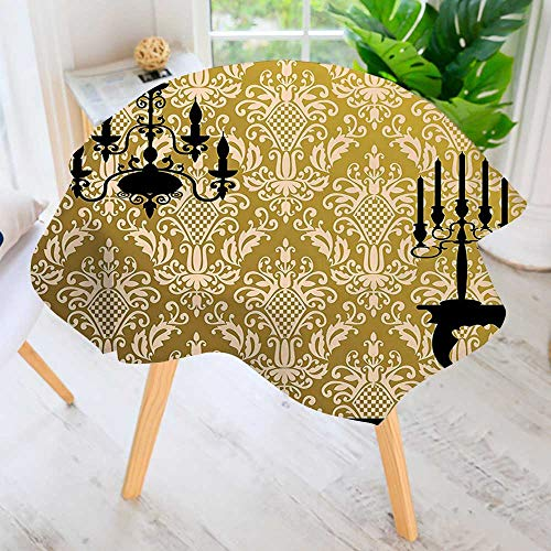 UHOO2018 Round Tablecloth-English Country House Damask Motif On Wall and Chandelier Silhouettes Renaissance Decor Golden Waterproof Wine Tablecloth Wedding Party Restaurant 47.5