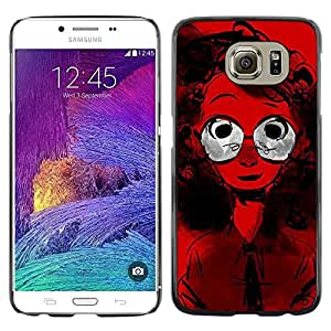 LECELL--Funda protectora / Cubierta / Piel For Samsung Galaxy S6 SM-G920 -- Glasses Curly Hair Red Portrait Girl Geek Style --