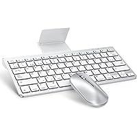 OMOTON Bluetooth Teclado y Ratón Inalámbrico con Soporte, Mini Combo de Teclado y Ratón Inalámbrico,Delgado y Compacto…
