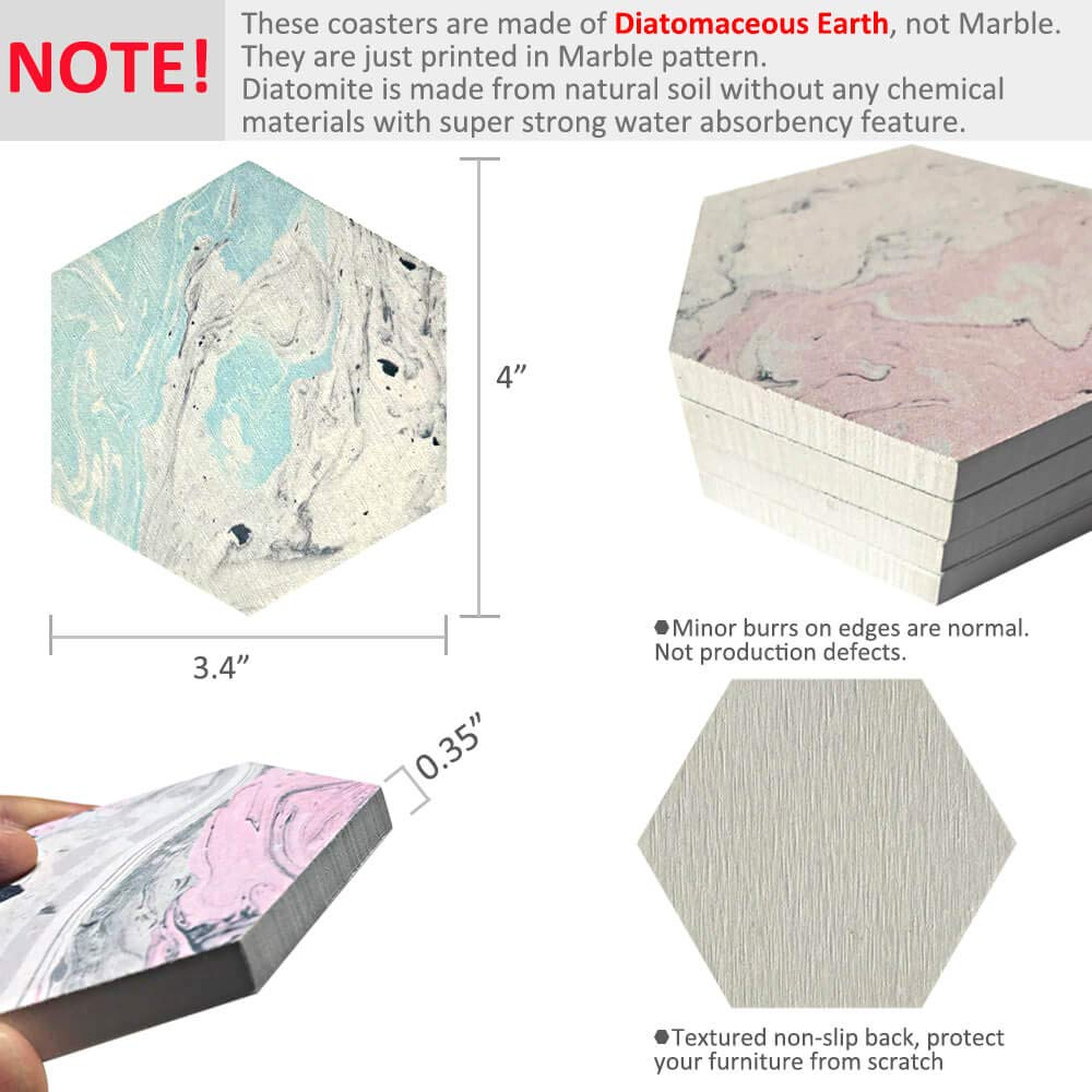 Absorbent Drink Diatomite Stone Coaster in Marble Design For Men & Women (Blue, Pink, Set of 4)