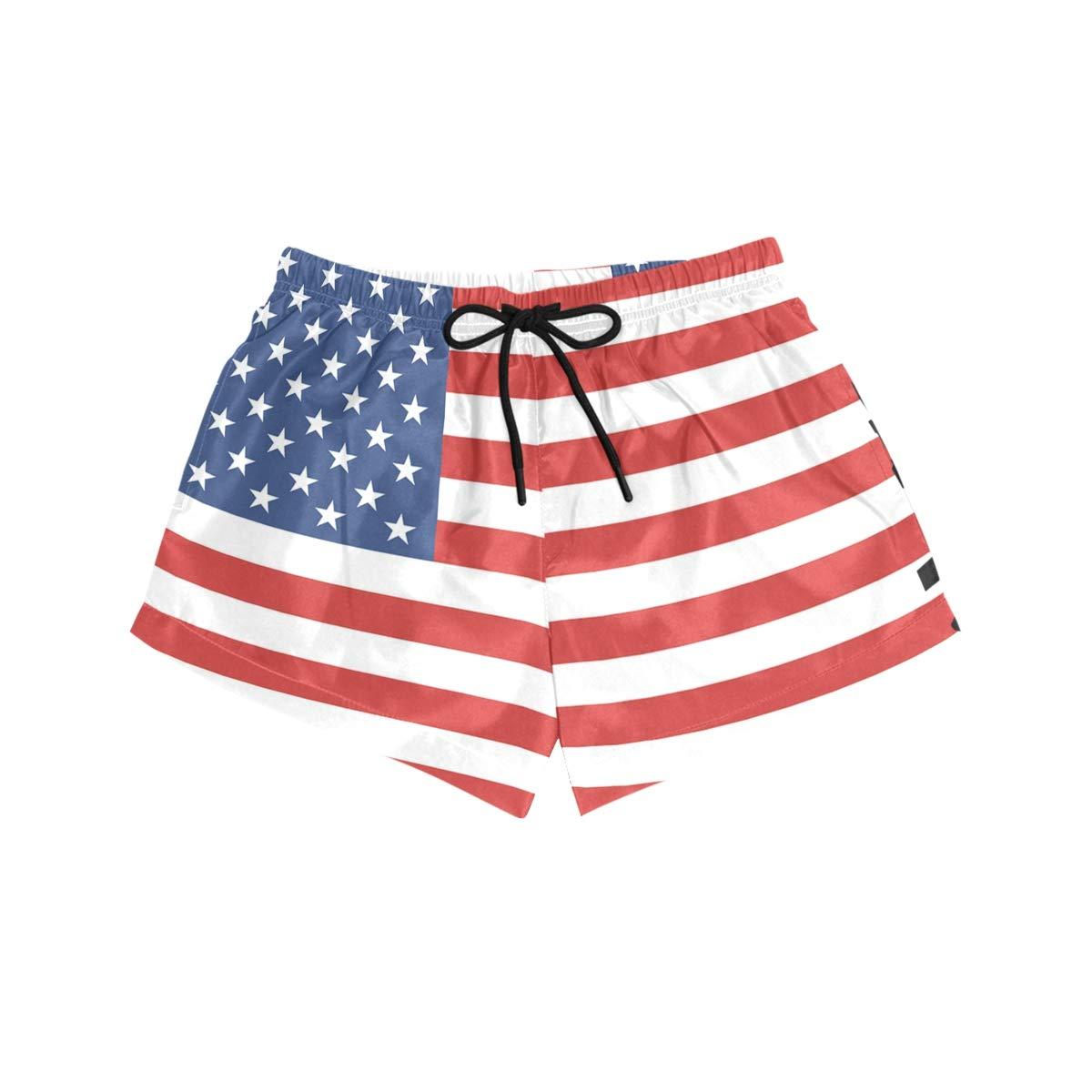 MALPLENA Womens Board Shorts American Flag Quick Dry Beach Boardshorts