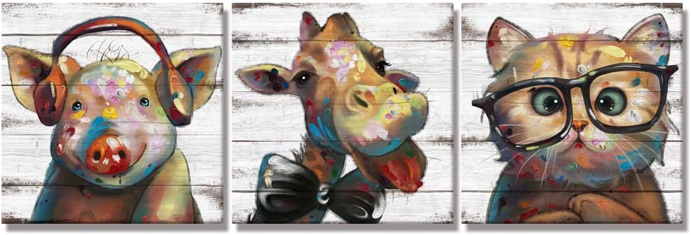 Visual Art Decor Funny Animals Canvas Wall Art Lovely Giraffe Pig Cat with Glass Painting Prints on Retro Wood Texture Background Premium Gallery Wrapped Artwork for Home Office Kid Bedroom Decoration