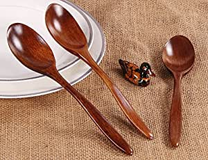 Wooden Spoon Bamboo Kitchen Cooking 5PCS Utensil Tool Soup Teaspoon Catering