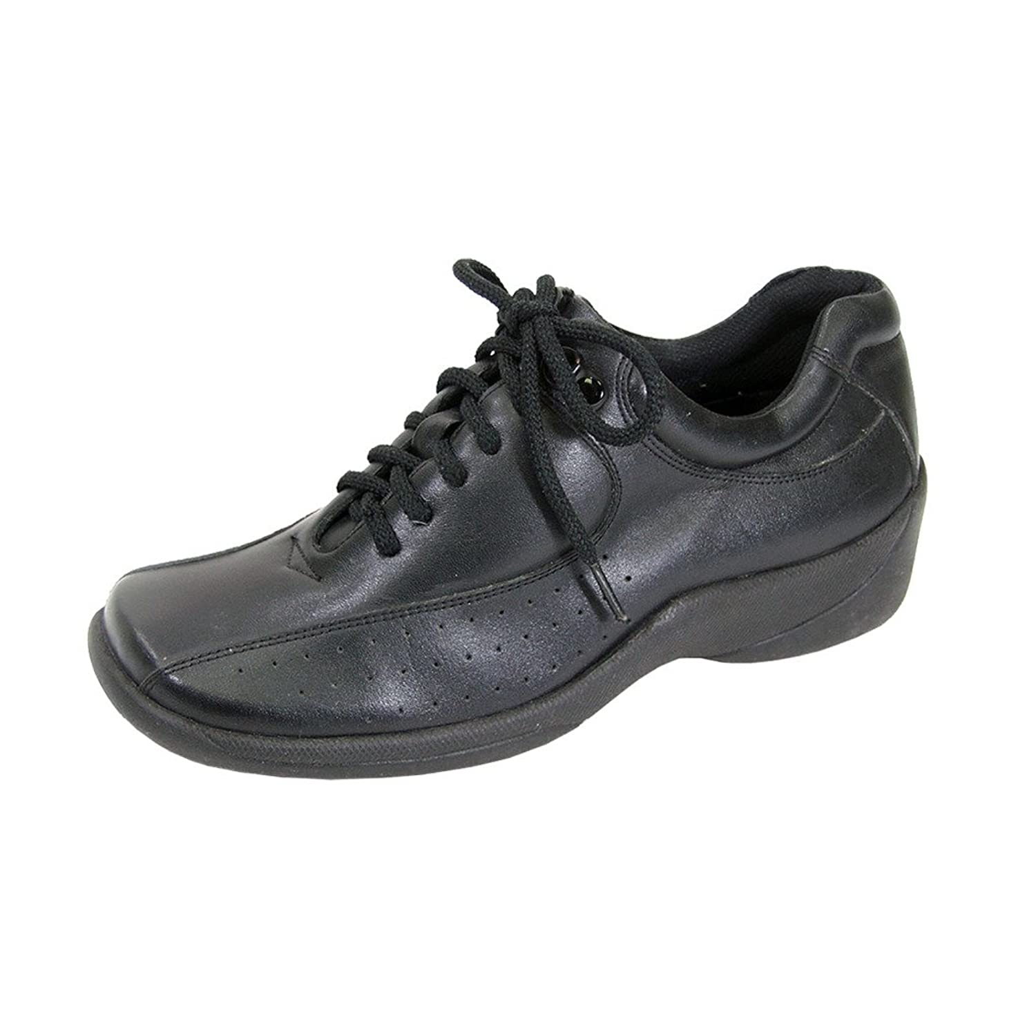 24 Hour Comfort FIC Gina Women Wide Width Light-Weight Leather Lace Up Shoes (Size/Measurement Guide)