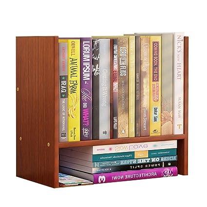 Bookshelf Simple Table Shelf Office Rack Mini Desktop Storage Color Brown