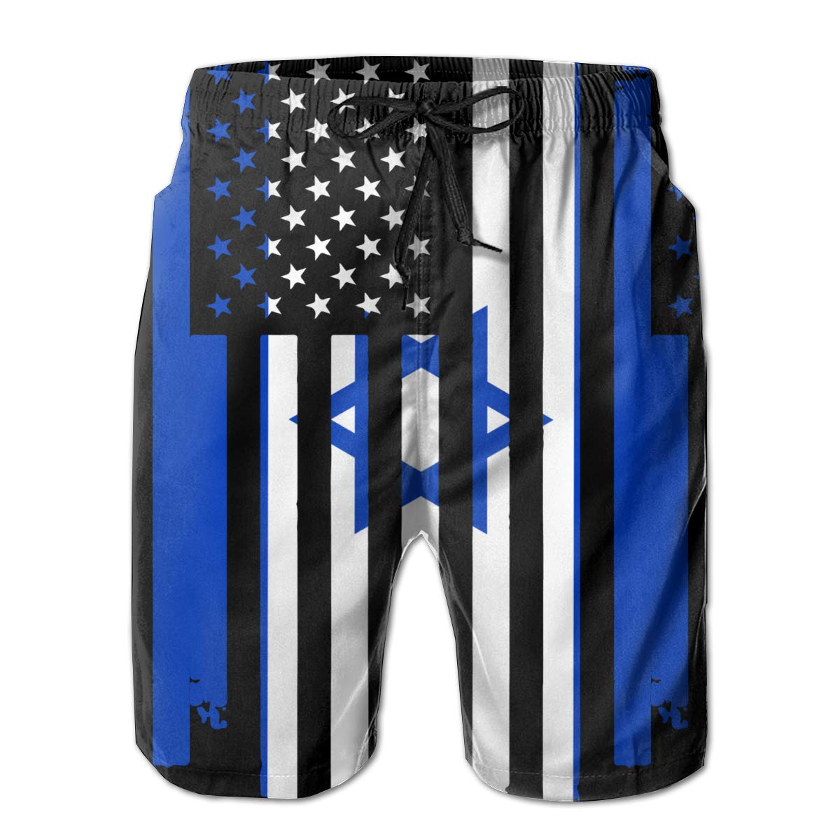 TBVS 79 American Israeli Flag Mens Holiday Party Swim Shorts with Pocket Drawstring