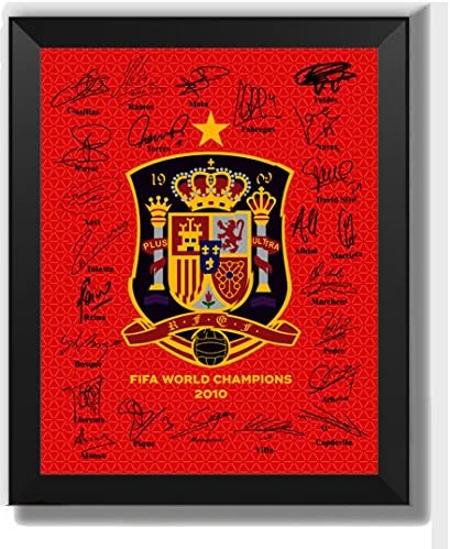 ASENER 2010 Foto Firmada del Campeón del Mundo De España, Campeona Mundial Equipo Nacional De Fútbol De España Heimatfeld Jersey,7Inch: Amazon.es: Hogar