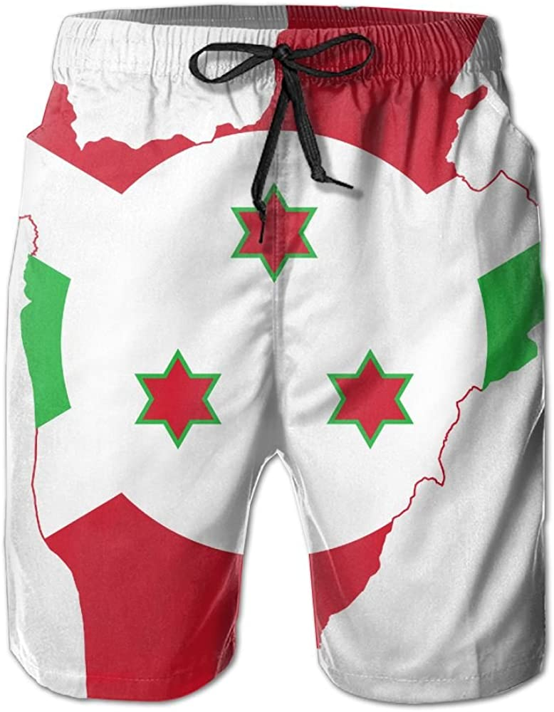 XinT Flag of Burundi Map Mens Shorts Swim Trunks Beach Shorts for Surfing Swimming