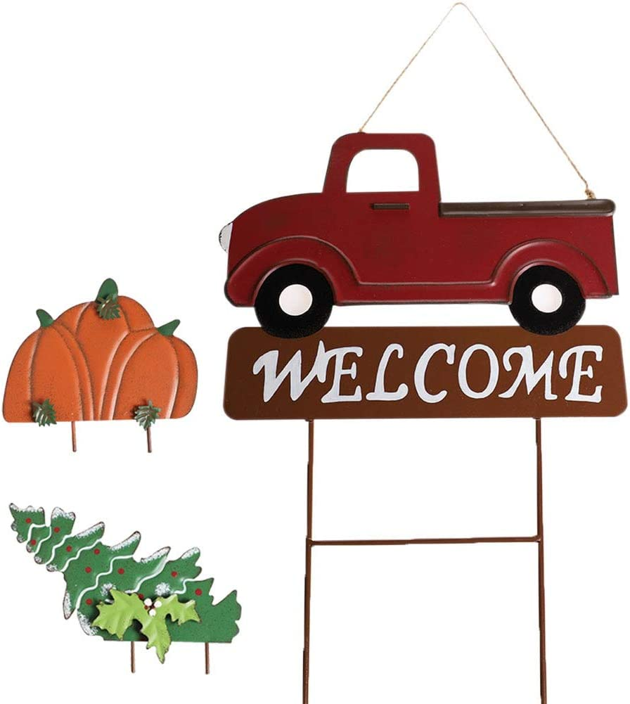 "MorTime Hanging Train Welcome Sign with Pumpkin or Christmas Tree, 15"" Metal Train Yard Garden Stake Decor, DIY Thanksgiving Christmas Decorations"