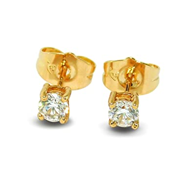 round cut basket diamond earrings ct gold certified tw stud pid prong yellow