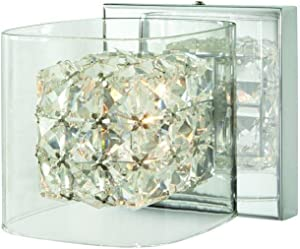 Weschler 1-Light Polished Chrome Vanity Light with Crystal and Clear Glass Shades