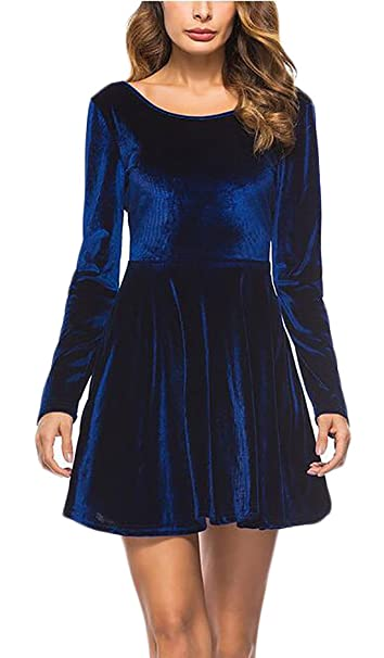3be456fdf6b GAGA Women s Elegant Long Sleeve Velvet Backless A-Line Skater Dress Blue M  at Amazon Women s Clothing store