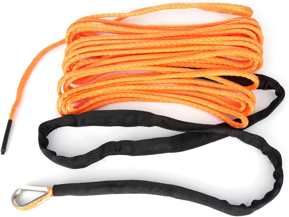 TUPARTS 50 X 1//4 Synthetic Winch Rope Cable Line Extension Replacement 4WD ATV UTV Truck Boat Trailer Off Road Recovery Winch Rope with Sheath Orange 7000 lb