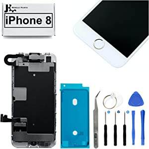 Full Screen Replacement LCD 3D Touch Assembly Front Camera Ear Speaker Home Button with Frame Adhesive and Repair Tools for iPhone 8 4.7 inch (Gold)