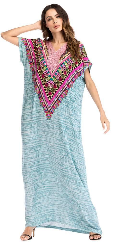 Ababalaya Women's Casual V-Neck Ethnic Style Embroidery Short Sleeve Long Maxi Muslim Dress,1027Grün,Tag L = EU-Größe 8-10