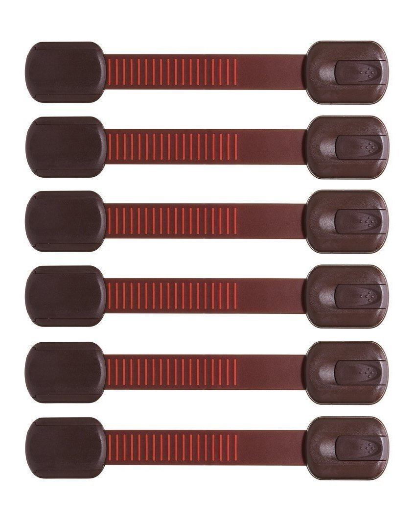 BabyGuard Adhesive Child Safety Locks with Extra 3M Adhesives, Brown, 6-Pack
