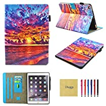 iPad Air Case, Dluggs Lightweight PU Leather Folio Smart Stand Wallet Case with Auto Sleep Wake Feature for Apple iPad Air (iPad 5) 2013 Released-Dusk