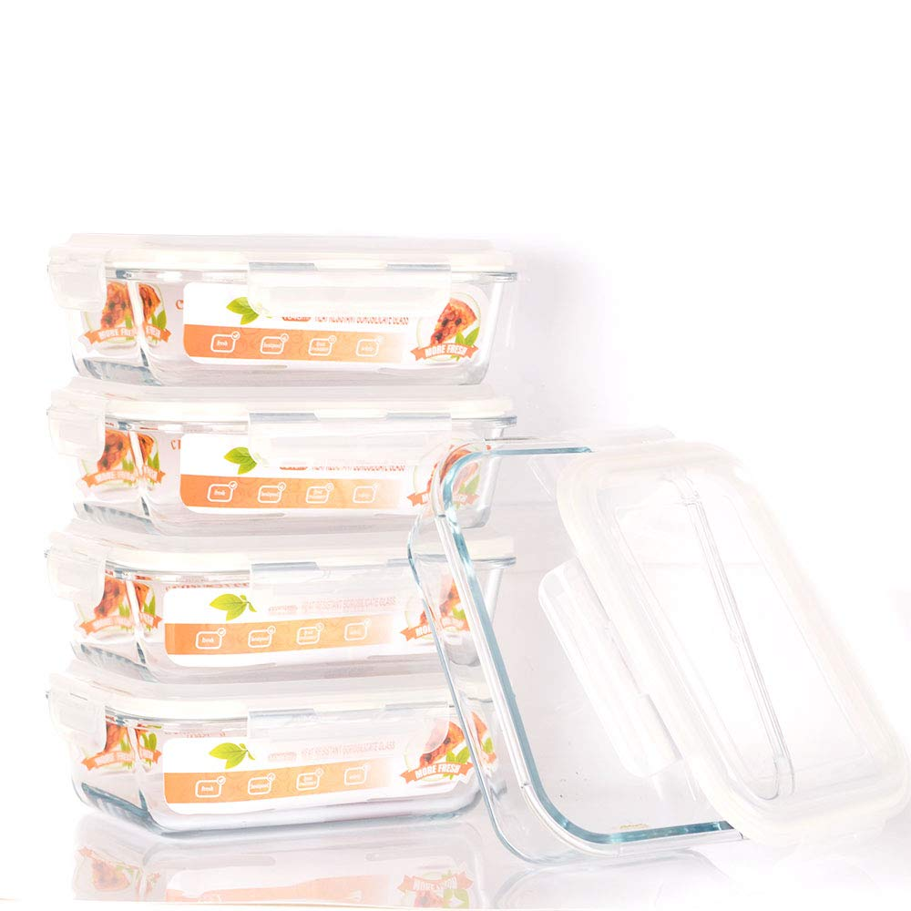 [5 Pack,35.5oz] SZUAH Glass Meal Prep Containers - Glass Food Storage Prep Containers with Snap Locking Lids - Airtight Portion Control - BPA Free, Microwave, Oven, Freezer, Dishwasher Safe.