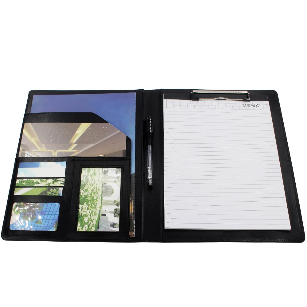 Business Padfolio Interview/Legal Document Organizer 9.7'' x 12.7'' Removable Clipboard & 8'' x 11'' Writing Pad
