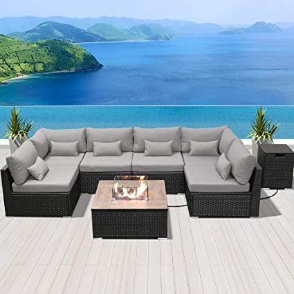 Dineli Patio Furniture Sectional Sofa With Gas Fire Pit Table Outdoor Patio Furniture Sets Propane Fire Pit Light Gray Square Firepit Garden Outdoor