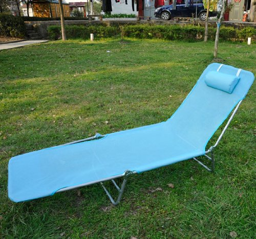 Outsunny Adjustable Reclining Beach Sun Lounge Chair, Blue