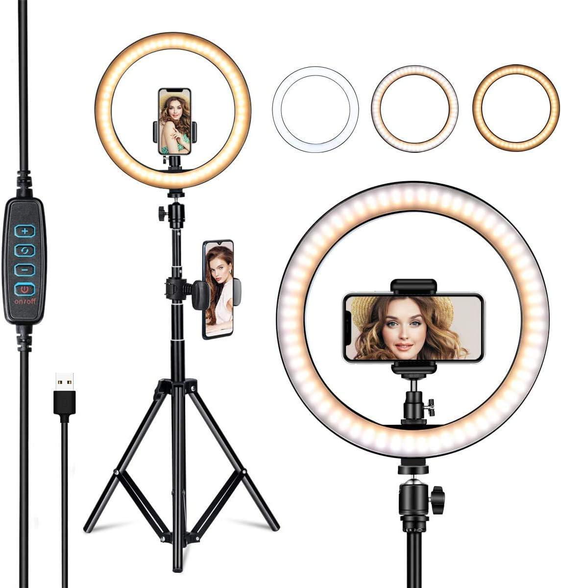 N A WW L/ámpara de Anillo de Belleza LED de 10.2C/ámara Regulable Luz de Anillo de Video de Estudio con Soporte Iluminaci/ón fotogr/áfica Selfie para Youtube Live