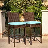 Bar Stools Cushions Sundale Outdoor 2 Pcs All Weather Patio Furniture Brown Wicker Barstool with Cushions