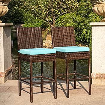 Sundale Outdoor 2 Pcs All Weather Patio Furniture Set Brown Wicker Barstool  With Cushions, Blue