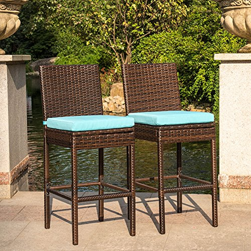 Sundale Outdoor 2 Pcs All Weather Dining Chiars Patio Furniture Set Brown Wicker Barstool with Cushions, Blue 2 Rattan Bar Stools