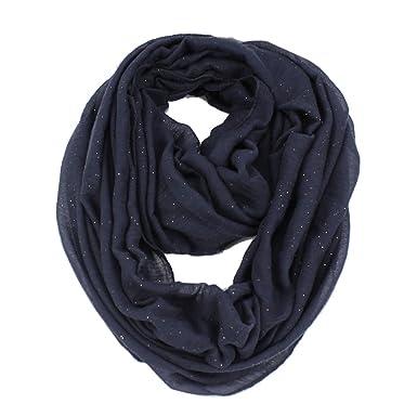 74daeee88010 Femme Echarpe Couleur unie Paillettes Brillantes Boucle Infinie Loop  Écharpe Châle Bleu marine  Amazon.fr  Vêtements et accessoires