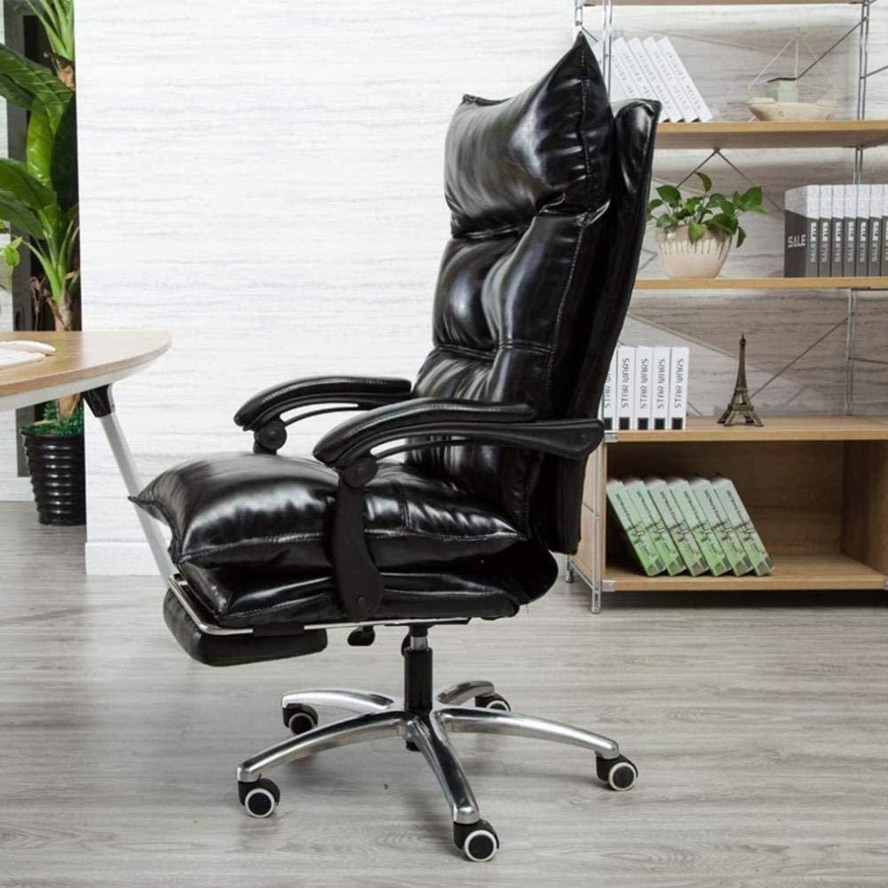 Skrivbordsstolar, ergonomisk kontorsstol datorstol justerbar spelstol svängbar stol chef stol dra ut fotstöd knästol (färg: svart) Svart