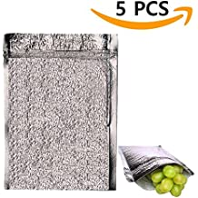 Insulated Easy Zip Lock Resealable Aluminum Sandwich Bag - Reusable Thermal Lunch Snack Bento Camping Picnic Hot & Cold Pouch For Men, Women, Kids, Boys, Girls, Baby, Adults (Sliver, 5)