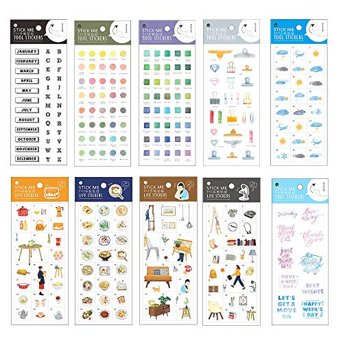 Stationery Sticker Set (10 Sheets) English Letter Colour Clip Weather Tableware Cooking Utensils Food Scrapbooking Planner Journal Diary Decorative DIY Craft Label ()