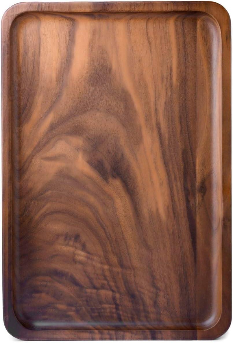 Bamber Wood Rectangular Serving Trays, Medium, Black Walnut, 13.4 x 9 Inches