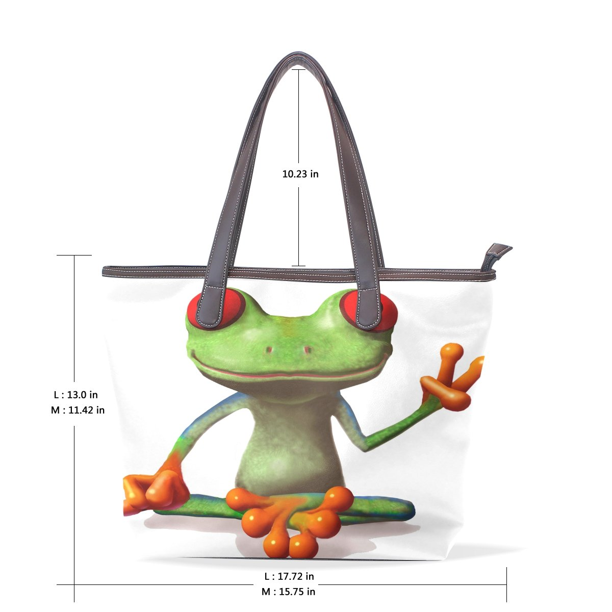 Ye Store Victory Of The Frog Lady PU Leather Handbag Tote Bag Shoulder Bag Shopping Bag