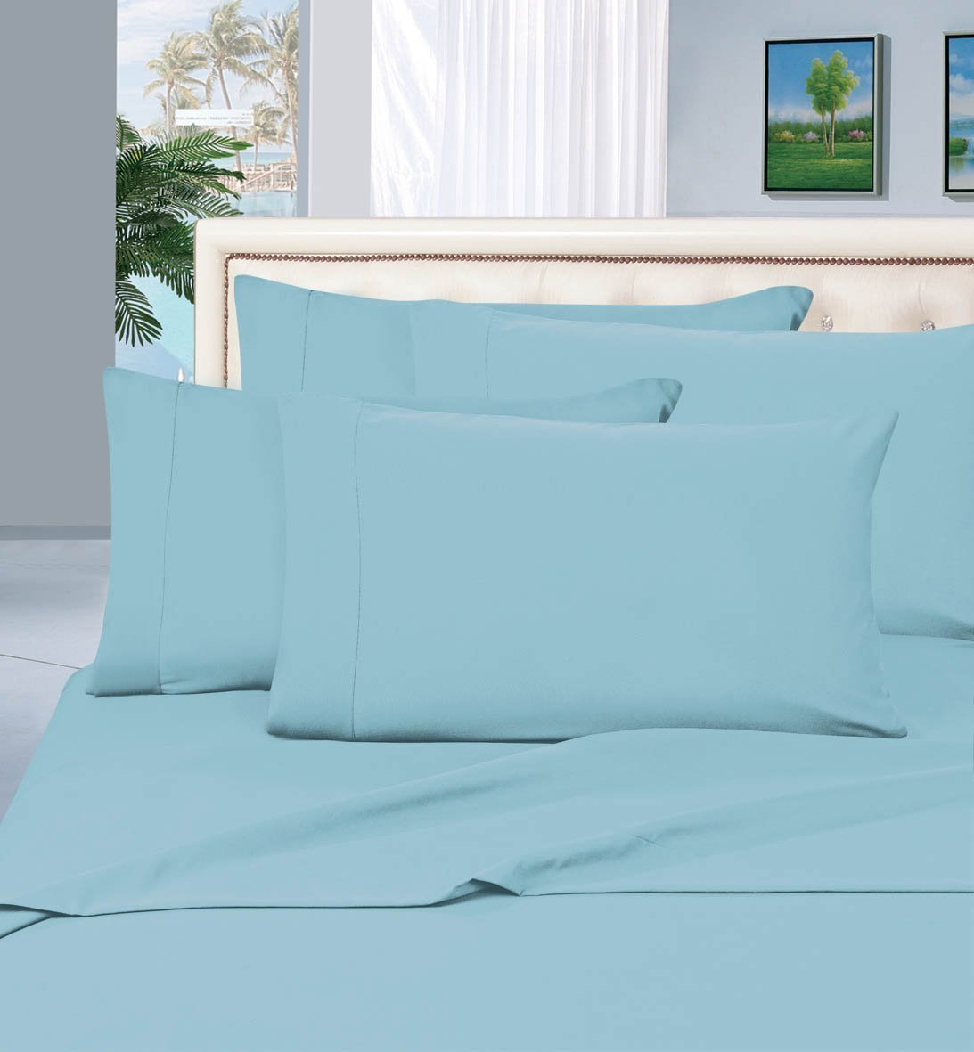 #1 Best Seller Luxury Pillowcases on Amazon! Highest Quality - Elegance Linen® 1500 Thread Count Egyptian Quality Luxury Silky Soft Wrinkle-Resistant 2-Piece Pillowcases, King Size - Aqua