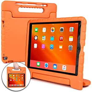 Cooper Dynamo [Rugged Kids Case] Protective Case for iPad Pro 12.9 1st 2nd Generation 2015 2017 | Child Proof Cover with Stand, Large Handle (Orange)