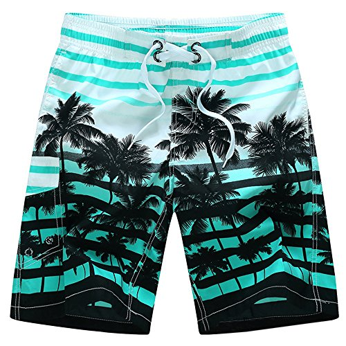 YIMANIE Men's Swim Trunks colorful Coconut Tree Printing Quick Dry Beach Board Shorts Swimwear (Quick Printing)