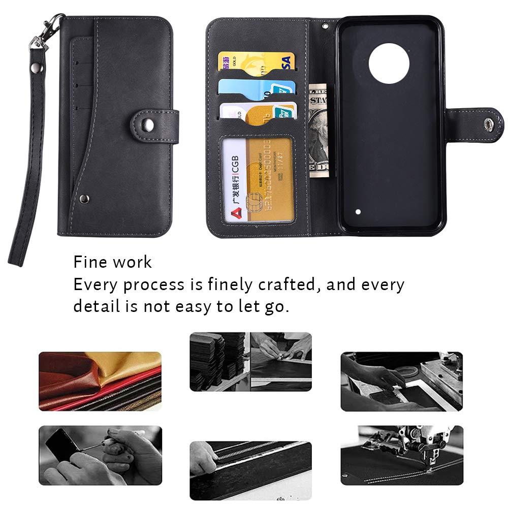 Moto G6 Plus Case,Moto G6 Plus Wallect Case, Flip Leather Case 5 Cards / 1 Photo Slot/Cash Pocket PU Cover with Wrist Strap [Wallet Stand] Phone Case for Moto G6 Plus (Black) by okasis (Image #6)