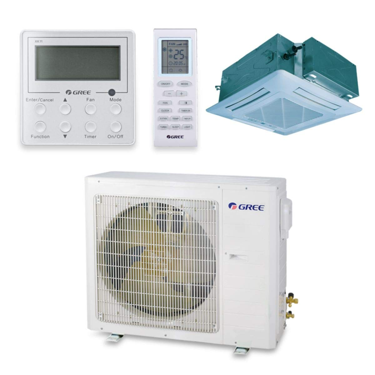 Gree UMAT18HP230V1AC-S - 18,000 BTU 16 SEER Ceiling Cassette Ductless Mini Split Air Conditioner Heat Pump 208-230V