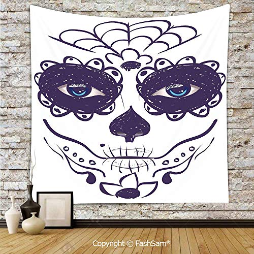 Tapestry Wall Blanket Wall Decor Dia de Los Muertos Sugar Skull Girl Face with Mask Make up Home Decorations for -