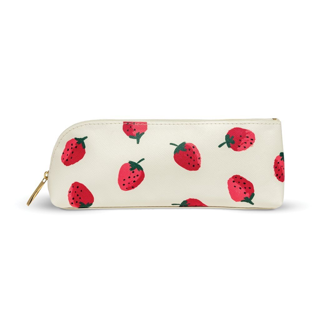 Kate Spade New York Women's Strawberries Pencil Case, Red/Green/White, One Size by Kate Spade New York