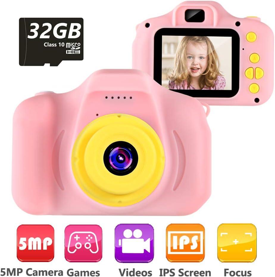 Cámara para Niños Infantil Cámara de Fotos Digital Cámara Juguete para Niños 2 Pulgadas 12MP 1080P HD Selfie Video Cámara Regalos Ideales para Niños Niñas de 3-10 Años con Tarjeta TF 32 GB (Rosa)